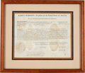 Autographs:U.S. Presidents, [War of 1812]. James Madison and James Monroe Letter of Marque Signed....