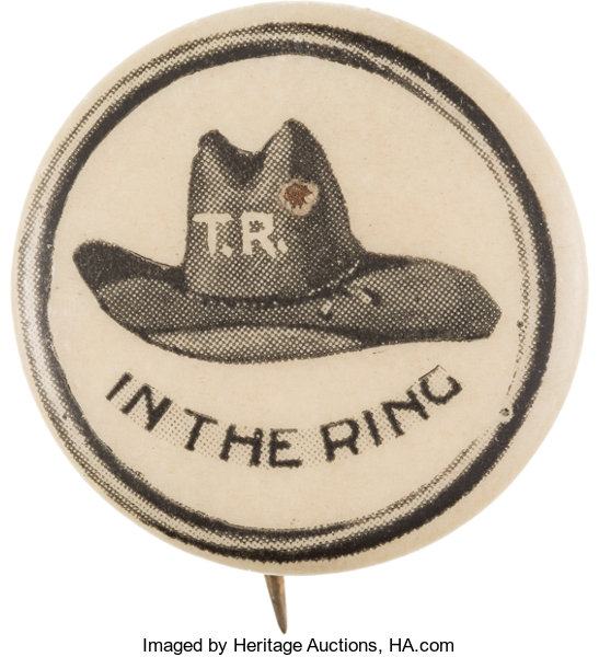 00097faad79 Theodore Roosevelt  Rebus Hat in the Ring Pin.... Political Pinback ...