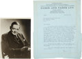Autographs:Authors, T.S. Eliot Typed Letter Signed...