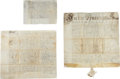 Miscellaneous:Ephemera, Manuscript Will of Stephanus Van Cortlandt.... (Total: 3 Items)