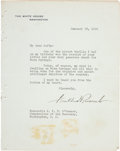 Autographs:U.S. Presidents, Franklin D. Roosevelt 1936 Warm Springs Typed Letter Signed withOne Photograph and Program....