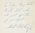 Autographs:Celebrities, Martin Luther King Jr. Inscribed and Signed Copy of What Mannerof Man....