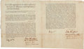 Autographs, [Expulsion of the Acadians]. John Winslow Signed Printed Oath of Allegiance to King George the Second....