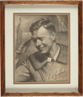 Autographs:Celebrities, Charles A. Lindbergh and Carl Bohnen Signed Print....