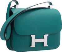 Hermes 23cm Malachite Epsom Leather Double Gusset Constance Bag with Palladium Hardware Very Good to Excellent