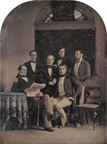 Photographs, Unknown (American, 19th Century). Portrait of a group of men, 1848. Half-plate daguerreotype in brass mat. 4-1/4 x 5-1/2...
