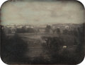 Photographs, Unknown (American, 19th Century). View of a Town, circa 1853. Half-plate daguerreotype in brass mat in leather case. 4-1...