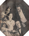 Photographs, Unknown (American, 19th Century). Group portrait, late 1840s. Sixth-plate daguerreotype in octagonal brass matt, in leat...
