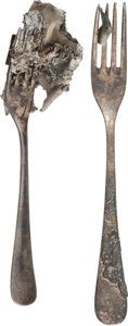 Transportation:Aviation, Hindenburg Disaster: Two Forks Retrieved from the Wreckage....(Total: 2 Items)