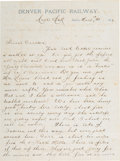 Western Expansion:Goldrush, Black Hills Hunter/Prospector Letter from 1876....