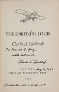 Books:Biography & Memoir, Charles A. Lindbergh. The Spirit of St. Louis. New York:Charles Scribner's Sons, 1953....