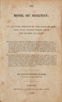 Joseph Smith. The Book of Mormon: An Account Written by the Hand of Mormon, Upon Plates Taken f