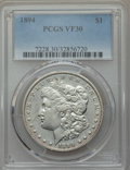 Morgan Dollars: , 1894 $1 VF30 PCGS. PCGS Population (195/3988). NGC Census: (117/2830). Mintage: 110,972. Numismedia Wsl. Price for problem ...