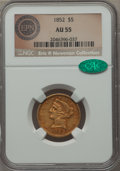 1852 $5 AU55 NGC. CAC. Ex: Eric P. Newman Collection. NGC Census: (148/318). PCGS Population (57/131). Mintage: 573,901...