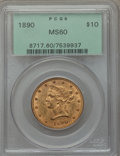 Liberty Eagles: , 1890 $10 MS60 PCGS. PCGS Population (28/189). NGC Census: (62/203). Mintage: 57,900. Numismedia Wsl. Price for problem free...