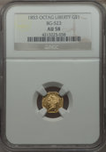 California Fractional Gold: , 1853 $1 Liberty Octagonal 1 Dollar, BG-523, R.5, AU58 NGC. NGCCensus: (4/3). PCGS Population (6/10). ...