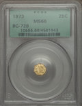 California Fractional Gold: , 1873 25C Liberty Octagonal 25 Cents, BG-728, R.3, MS66 PCGS. PCGSPopulation (23/3). NGC Census: (12/5). ...