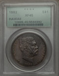 Coins of Hawaii: , 1883 $1 Hawaii Dollar XF45 PCGS. PCGS Population (181/270). NGCCensus: (74/219). Mintage: 500,000. ...