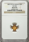 California Fractional Gold: , 1880 50C Indian Octagonal 50 Cents, BG-954, Low R.4, MS65 ProoflikeNGC. NGC Census: (6/5). ...