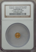 California Gold Charms, 1915 Eureka, Minerva, Octagonal, California Gold 1/4, MS65 NGC. M.E. Hart's Coins of the Golden West. 0.31 gm....
