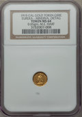 California Gold Charms, 1915 Eureka, Minerva, Octagonal, California Gold 1/2, MS64 NGC. M.E. Hart's Coins of the Golden West. 0.65 gm....