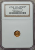 California Gold Charms, 1915 Eureka, Minerva, Octagonal, California Gold 1/2, MS65 NGC. M.E. Hart's Coins of the Golden West. 0.67 gm....