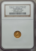 California Gold Charms, 1915 Eureka, Minerva, Octagonal, California Gold One, MS63 NGC. M.E. Hart's Coins of the Golden West. 1.14 gm....
