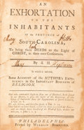 Books:Americana & American History, S[ophia] H[ume]. An Exhortation to the Inhabitants Of theProvince of South-Carolina, To bring their Deeds to the Light...
