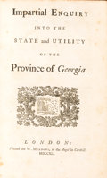 Books:Americana & American History, [Benjamin Martyn]. Impartial Enquiry into the State and Utilityof the Province of Georgia. London: Printed for ...