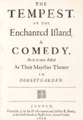 Books:Literature Pre-1900, [William Shakespeare]. The Tempest, or The Enchanted Island. AComedy. As it is now Acted At Their Majesties Theatre in ...