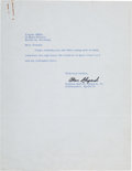 Autographs:Celebrities, Alan Shepard Typed Letter Signed Regarding Space Travel. ...