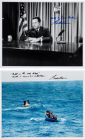 Autographs:Celebrities, Gordon Cooper Signed Mercury-Atlas 9 (Faith 7) Photos(Two).... (Total: 2 Items)