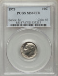 Roosevelt Dimes, 1975 10C MS67 Full Bands PCGS. PCGS Population (3/0). NGC Census: (2/0). Mintage: 585,673,920. Numismedia Wsl. Price for pr...