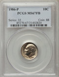 Roosevelt Dimes, 1986-P 10C MS67 Full Bands PCGS. PCGS Population (3/0). NGC Census: (5/1). Mintage: 682,649,664. Numismedia Wsl. Price for ...