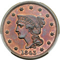 Proof Large Cents, 1843 1C N-14, High R.6, PR64 Red and Brown PCGS. CAC....