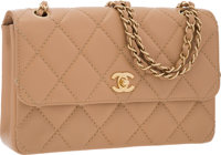 Chanel Beige Quilted Lambskin Leather Medium Single Flap Bag with Brushed Gold Hardware Very Good to Excellent