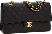 Chanel Black Quilted Lambskin Leather Medium Double Flap Bag with Gold Hardware Very Good to Excellent Conditi