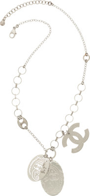 "Chanel Silver Cutout & Black Enamel Necklace Very Good Condition 18"" Length"