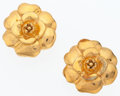 "Luxury Accessories:Accessories, Chanel Gold Camellia Flower Earrings. Very Good to Excellent Condition. 1"" Width x 1"" Length. ..."