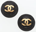 "Luxury Accessories:Accessories, Chanel Black Wood & Enamel CC Earrings with Gold Hardware. Very Good Condition. 1.5"" Width x 1.5"" Length. ..."
