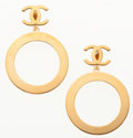 """Luxury Accessories:Accessories, Chanel Gold Hoop CC Earrings. Very Good to ExcellentCondition. 2.5"""" Width x 3.5"""" Height. ..."""
