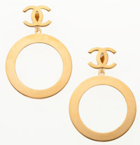 """Chanel Gold Hoop CC Earrings Very Good to Excellent Condition 2.5"""" Width x 3.5"""" Height"""