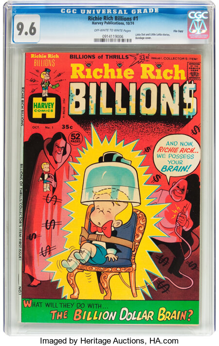 Richie Rich Billions #1 File Copy (Harvey, 1974) CGC NM+ 9.6 Off-white to white pages....
