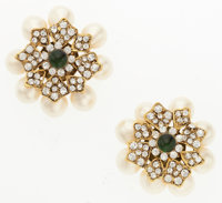 "Chanel Silver Crystal, Green Glass & Glass Pearl Earrings Excellent Condition 1.5"" Width x 1.5"" Length&..."