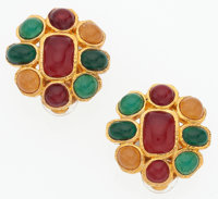 "Chanel Green & Red Gripoix Earrings with Hammered Gold Hardware Very Good to Excellent Condition 1"" Diameter"