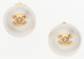 "Luxury Accessories:Accessories, Chanel Glass Pearl Earrings with Gold Hardware. Excellent Condition. 1"" Width x 1"" Height. ..."