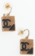 "Luxury Accessories:Accessories, Chanel Black & Beige Enamel Earrings with Silver Hardware.Very Good Condition. .5"" Width x .5"" Height. ..."