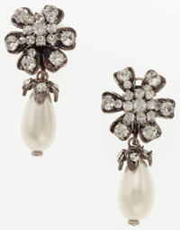 """Chanel Silver Crystal & Glass Pearl Earrings with Silver Hardware Excellent Condition 1"""" Width x"""