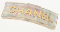 """Chanel Iridescent Acrylic & Gold Logo Barrette Excellent Condition 4"""" Length x 1"""" Height<"""
