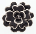 "Luxury Accessories:Accessories, Chanel Black Enamel Camellia Brooch with Gunmetal Hardware.Excellent Condition. 2"" Width x 2"" Height. ..."